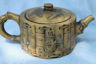 Collectable Antique Decor Copper Carving Book Family Names Chinese Noble Tea Pot