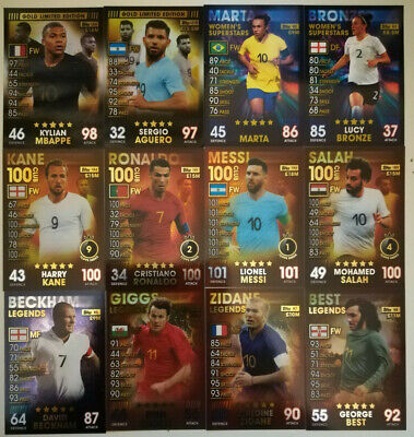 Topps Match Attax 101 2019 Legends Limited Editions 100 club womens & heroes