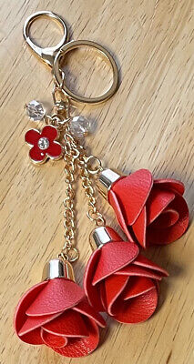 Floral Red Leather Rose Tassels Bag Purse Key Chain Charm Gold & Crystal Clover