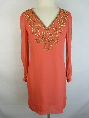 9f011f27e8f French Connection Coral Pink Silk w/ Gold Beads/Sequins L/S Shift Dress