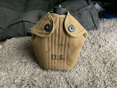 WWII U.S. Army Canteen w/ Canvas Cover Dated 1942, Metal Canteen Dated 1942.