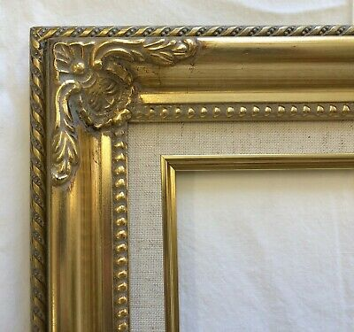 """Picture Frame- 8x10"""" Ornate Gold Color with Linen Liner- Wood/Gesso- #B5G"""