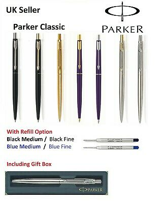 Stainless Steel GT Black Ink Parker Classic Ballpoint Pen Made in UK