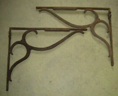 (2) Large Antique Ornate Cast Iron Shelf Brackets Victorian / Early 1900s