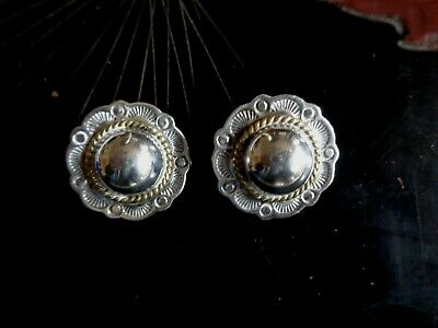 Vintage Sterling Silver Concho Clip Earrings Mexico Stamp Designs of Suns Signed
