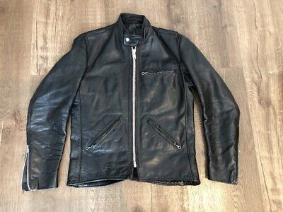 081d0d27768a Vintage 70's Vanson Associates Black Leather Cafe Racer Motorcycle Jacket  Sz 38