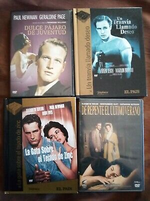 Lote 4 Dvd Tennessee Williams - Liz Taylor - Marlon Brando - Hepburn  - Clift