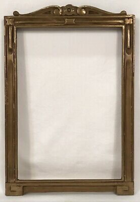 Antique Early 20th C Arts & Crafts Hand Carved Gold Frame 7 x 10 Opening