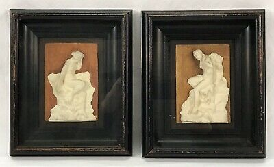 Pair Antique Victorian Plaster Nude Female Plaques Original Deep Frames