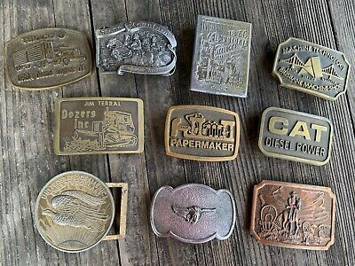 Lot of 10 Vintage Men's Metal Belt Buckles Brass, Pewter 1970 - 1980's Collector