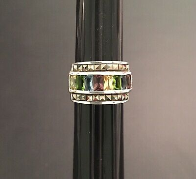 Ladies .925 Silver Wide Band Ring With Multicolored Stone Size 6.5 - 7.5 Grams