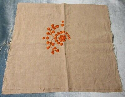Antique Pillow Case Arts & Crafts Embroidery on Linen Appears Unused