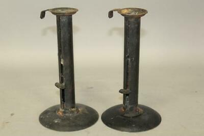 A Great Pair Of Early 19Th C American Iron Hogscrapers In Old Black Paint
