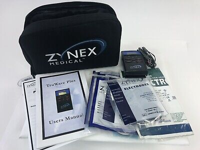 Zynex Medical TruWave Plus Medical Tens Unit w/ Electrodes Lead Wires & Case