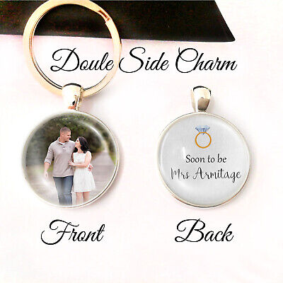 Personalised Double Sided Keyring Bride to be Gifts Memory Engagement Presents