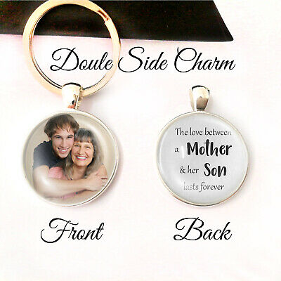 Personalised Double Sided Keyring Mum Son Mother Love Gifts Birthday Presents UK