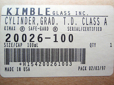NEW Kimble 20026-100 Glass Certified Class A Graduated Cylinder, 100ml Capacity