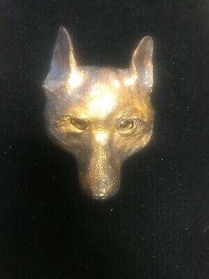 Vintage 1976 Christopher Ross Fox Coyote Belt Buckle 24K Gold Plated Glass Eyes
