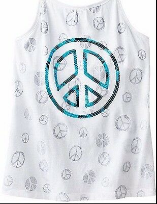 SO Girls 7-16 Sequin Peace Sign Halter Knit Top New White Built in Shelf Bra