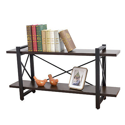 Industrial Bookshelf Wood and Metal Bookcase Furniture Retro Rustic Home Office