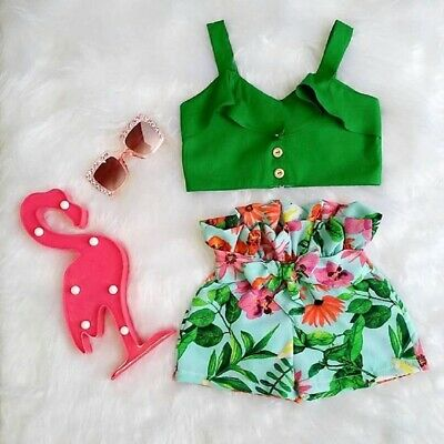 Toddler Kids Baby Girls Crop Top Shorts Pants Holiday Summer Outfit Set Clothes