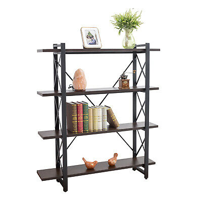 4 Tier Industrial Bookshelf Bookcase Wood and Metal Book Shelves Furniture