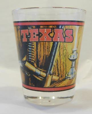 TEXAS Shot Glass Wrap Around Graphics Gun Cowboy Hat NEW Perfect Condition