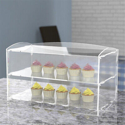 2 Layer Bakery Pastry Display Case Acrylic Cabinet Cakes Donuts Cupcakes Stand
