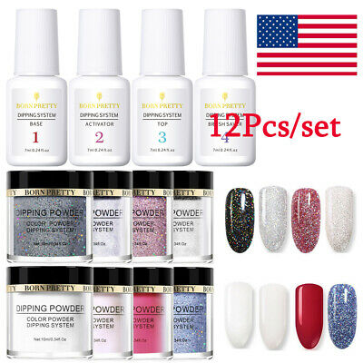 12PCS BORN PRETTY Dipping Powder System Liquid Long Lasting Nail Art Starter Kit