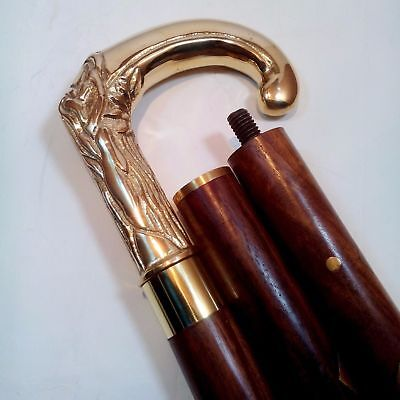 Vintage Solid Brass Handle And Antique Style Victorian Wooden Walking Stick/Cane