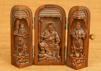 Chinese old boxwood hand carved Guangong statue netsuke box table decoration
