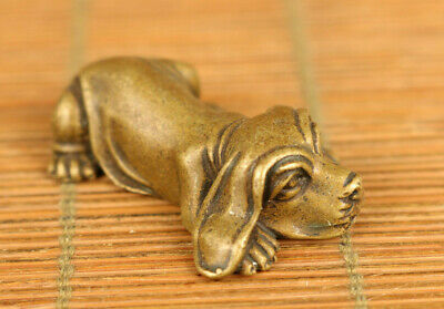 Rare Asian old bronze hand carving lovely dog statue figue netsuke decoration