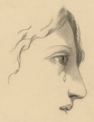 Early 20th Century Charcoal Drawing - Woman Crying