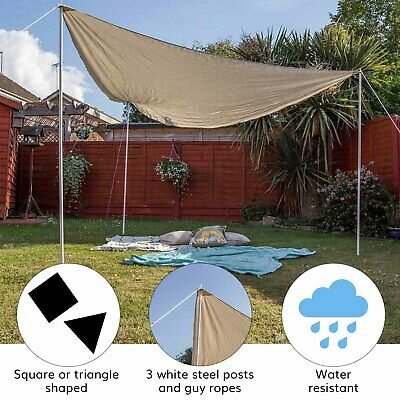 Shade Sail 3x3m Awning Canopy - Sun Shade for Patio/Garden/Outdoor With Ropes