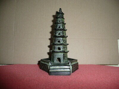 Antique Small Cast Bronze Chinese Temple,Pagoda,Sticks Incense Burner,NicePatina
