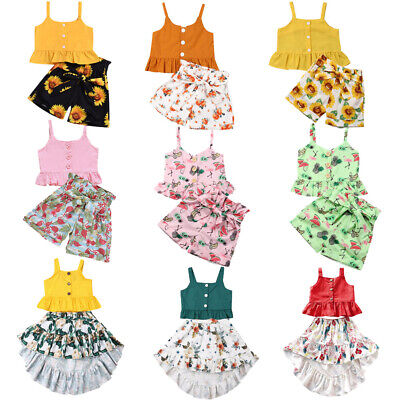 Summer Baby Girl Clothes Toddler Ruffle Tops Floral Short Pant Dress Outfits Set