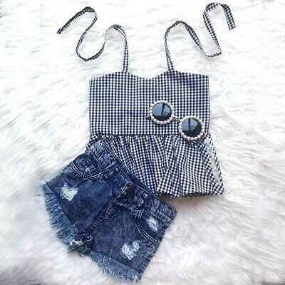 Newborn Kid Baby Girls Plaids Summer Tops Vest Denim Pants Shorts Outfit Clothes