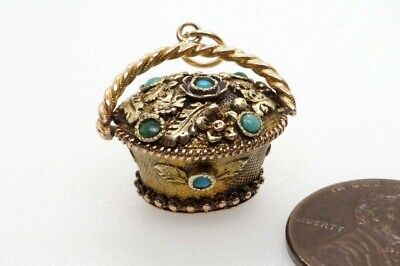 Antique English Georgian Regency 15K Gold Turquoise Basket Charm Amethyst Seal