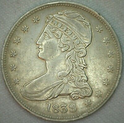1838 Capped Bust Silver Half Dollar XF Extra Fine Philadelphia  50c US Coin K78