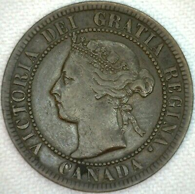 1895 Canada One Cent Bronze Coin Large Cent Penny XF Extra Fine K35