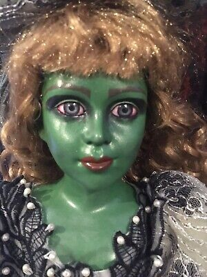 Creepy Horror Witch Porcelain doll Green With Envy
