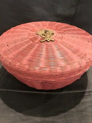 VTG Chinese Lidded Wicker Sewing Basket With Brass Tassels - Mauve Color