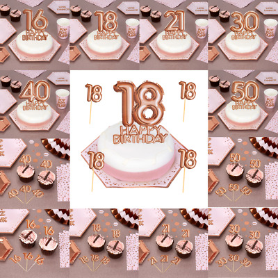 Rose Gold Happy Birthday Cake Cupcake Toppers Decoration Picks 18-21-30-40-50