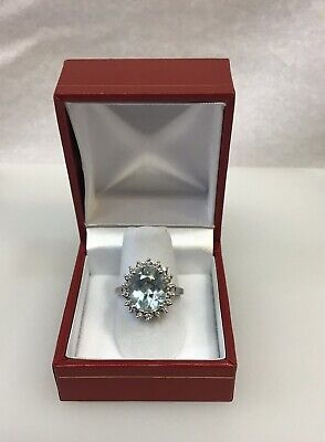 Vintage 14K White Gold 5.00 Ct Natural Oval Aquamarine And Diamond Halo Ring