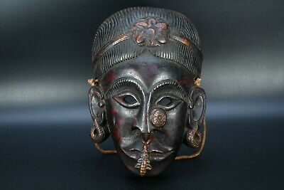 Antique Tribe Teak Shaman Exorcism Mask Tharu Bodhi Tree Wood Tantrik Mask,Nepal