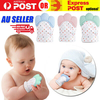 Silicone Baby Teether Teething Bite Mitten Glove Safe BPA Free Chew Dummy Toy AU