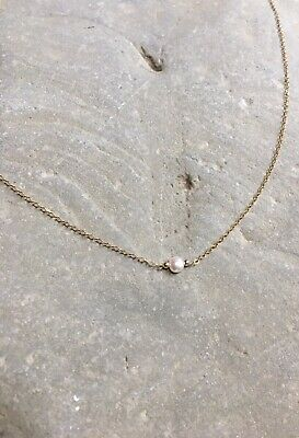 Single Floating Natural Freshwater Cultured Pearl Illusion Necklace Dainty 41iFW