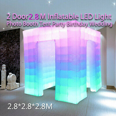 Inflatable Photo Booth LED Lighting Tent Air Pump 2.8M 2 Doors+Remote Controller