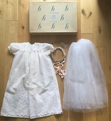 Old Vintage Childs Christening Dress Outfit Inc Pearl & Diamante Headdress Boxed