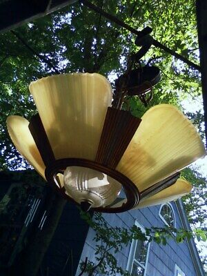 Architectural Salvage Art Deco Slip Shade Ceiling 5 Light Fixture Chandelier